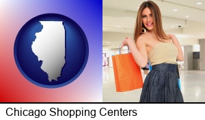 Chicago, Illinois - a young woman shopping at the mall