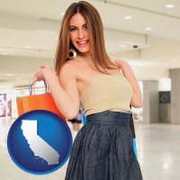 california map icon and a young woman shopping at the mall