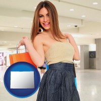 colorado map icon and a young woman shopping at the mall