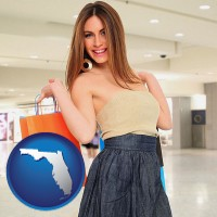florida map icon and a young woman shopping at the mall