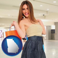 georgia map icon and a young woman shopping at the mall