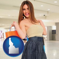 idaho map icon and a young woman shopping at the mall