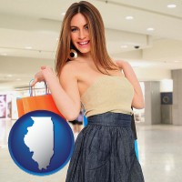 illinois map icon and a young woman shopping at the mall