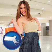 massachusetts map icon and a young woman shopping at the mall