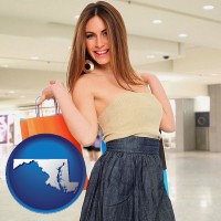 maryland map icon and a young woman shopping at the mall