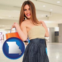 missouri map icon and a young woman shopping at the mall