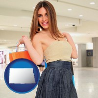 north-dakota map icon and a young woman shopping at the mall