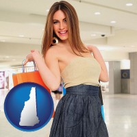 new-hampshire map icon and a young woman shopping at the mall