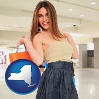new-york map icon and a young woman shopping at the mall