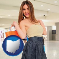 ohio map icon and a young woman shopping at the mall