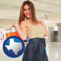 texas map icon and a young woman shopping at the mall