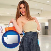 washington map icon and a young woman shopping at the mall