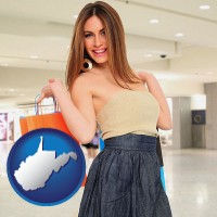 west-virginia map icon and a young woman shopping at the mall