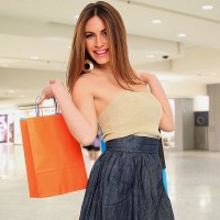 a young woman shopping at the mall